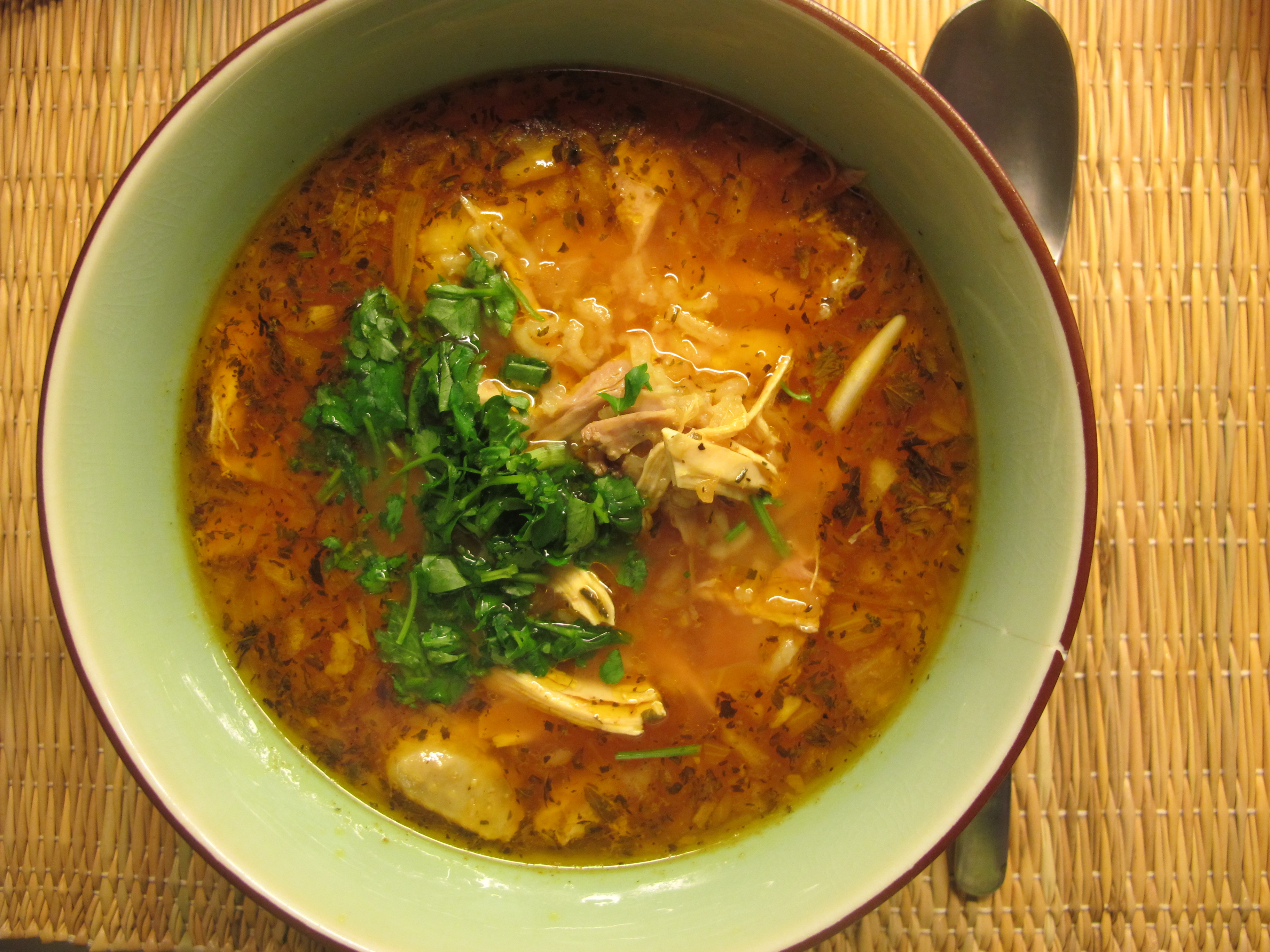 Minty Moroccan Chicken Soup with Rice