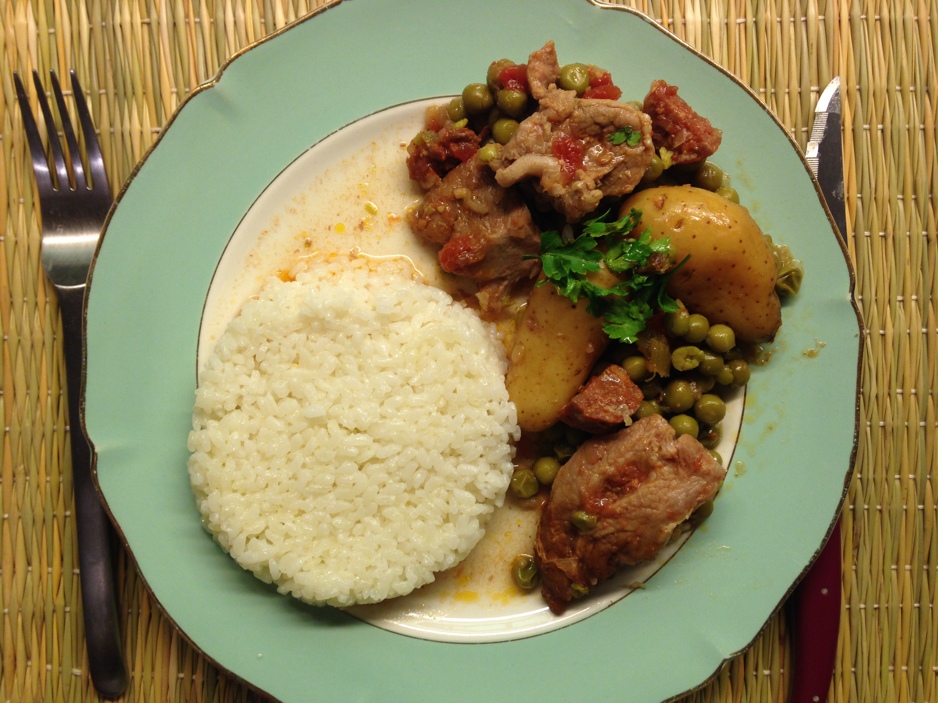 Veal Stew with Chorizo, Fingerling Potatoes and Peas