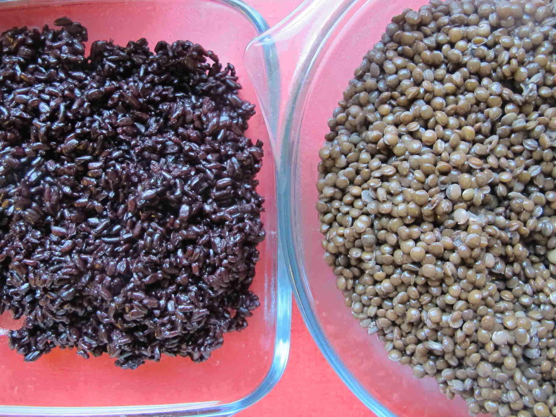 Cooked black rice and beluga lentils