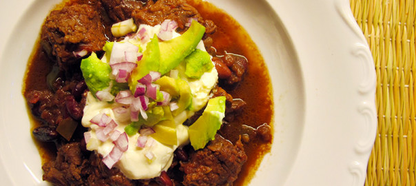 Slow Cooker Mexican Beef Stew with crème fraîche garnish